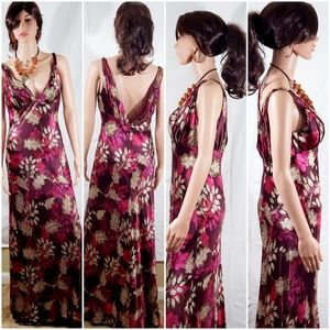 Carmen Marc Valvo Sequenced Floral Maxi Gown